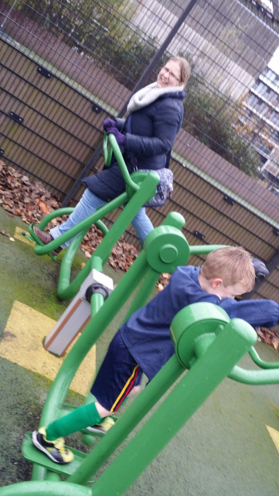 Sam & Dylan enjoying the outdoor gym at Carrow Road as part of Movember