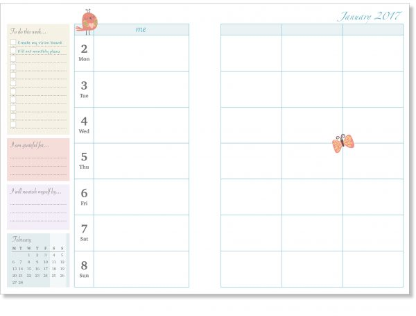 Weekly Diary Page Stop-the-Flitter-Diary-2017 by Sam James