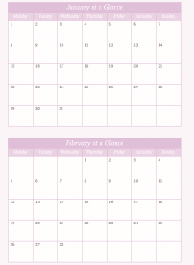 Stop the Flitter Diary 2018 Monthly Glance